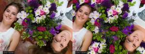 Dana en Nadia met een bosje bloemen (links) en in een zee van bloemen (rechts).