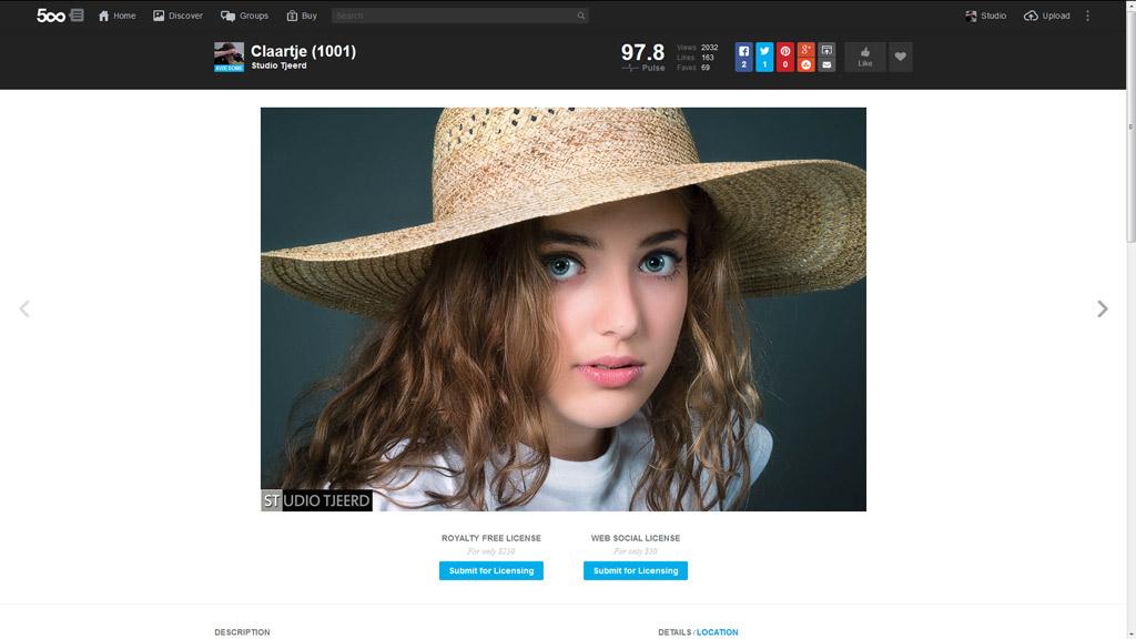 Laatste screenshot van de succesfoto op 500px.