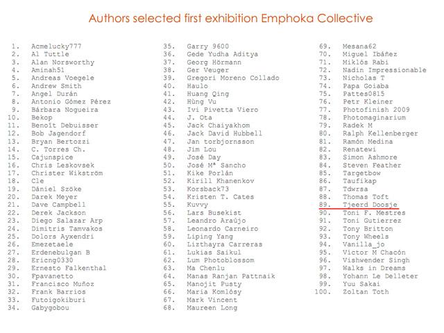 Namenlijst deelnemende fotografen.