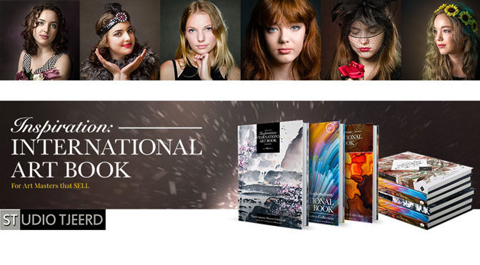 """Inspiration: International Art Book"" in handen"