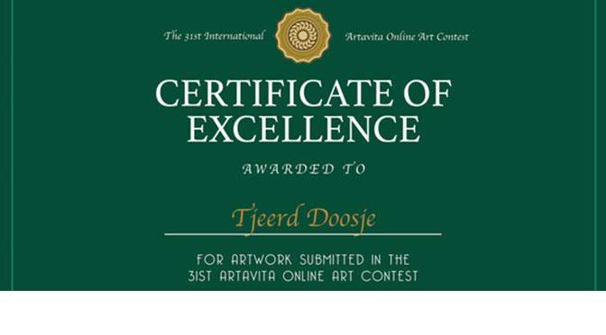 Inzending bij finalisten – Certificate of Excellence van ArtaVita