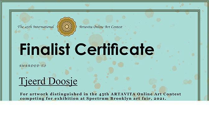 Inzending bij finalisten – Finalist Certificate van ArtaVita